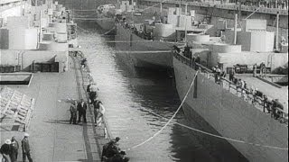 HD Historic Archival Stock Footage WWII - U.S. Shipyards Hit All-Time Record! 1942