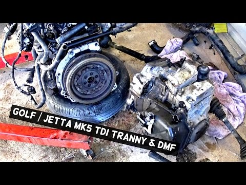 VW JETTA GOLF MK5 1 9 TDI TRANSMISSION AND DMF REMOVAL REPLACEMENT