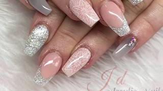 Acrylic Nails | Grey Design