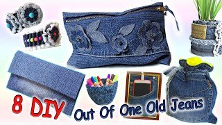 8 DIY Easy Projects Out Of One Pair Old Jeans - Recycle From Old Denim - Old Jeans Crafts