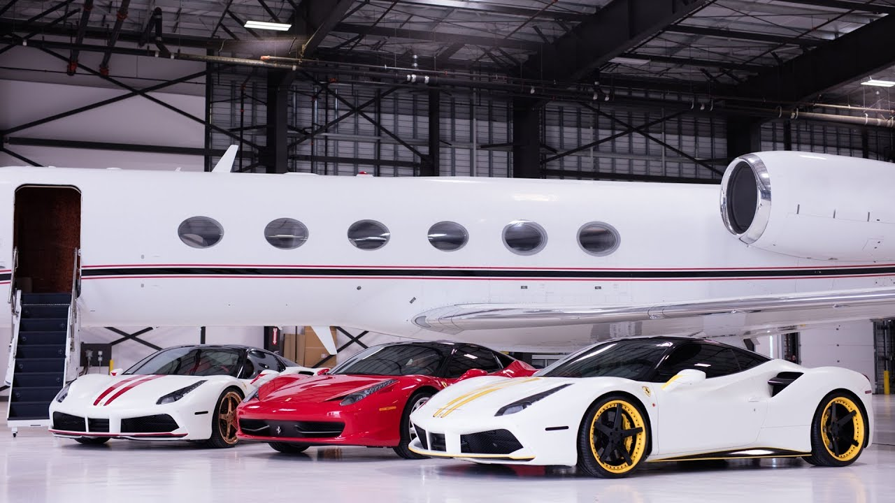 three ferraris two models and a private jet youtube. Black Bedroom Furniture Sets. Home Design Ideas