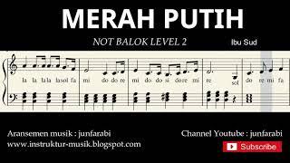 Gambar cover not piano merah putih - notasi balok level 2 - lagu wajib nasional - do re mi / sol mi sa si
