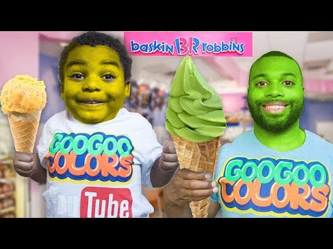 GOO GOO GAGA PRETEND PLAY IN BASKIN ROBBINS ICE CREAM STORE WITH DAD!