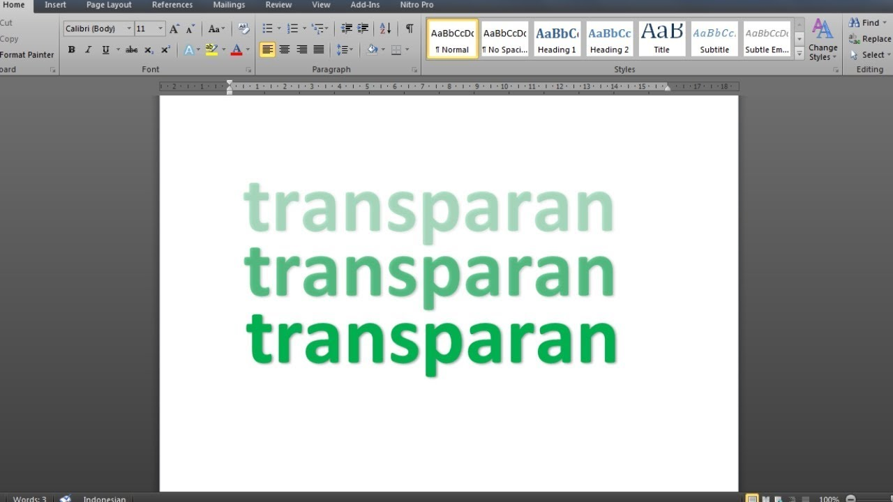 Cara Membuat Teks Transparan Di Ms Word Youtube