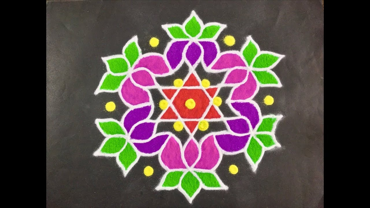Rangoli Design With Colours For Festivals And Competitions And Dots 11x6 Daily Flower Rangoli