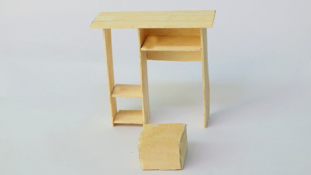How To Make Popsicle Stick Computer Table Wooden Desk