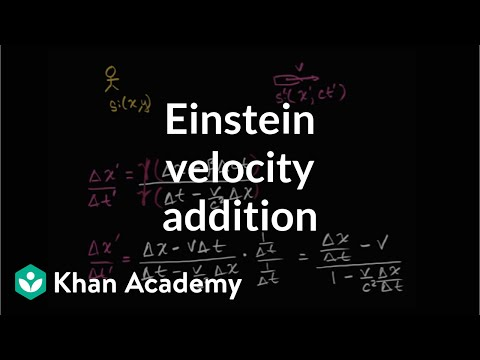 Einstein velocity addition formula derivation | Special relativity | Physics | Khan Academy