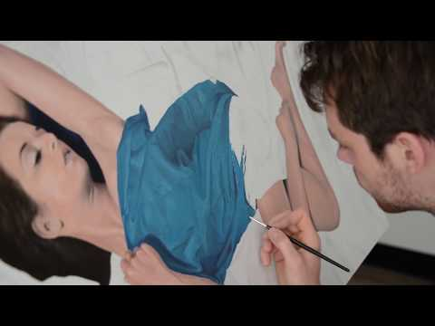 Hyperrealistic speed painting Woman in Blue by Martijn Versteeg