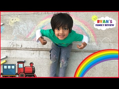 Kid Playtime outside with a Colorful Chalk drawing rainbow and truck with Ryan's family Review