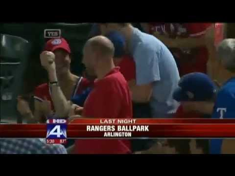 TX Rangers: Couple Catches Ball As 3-Year Old Cries
