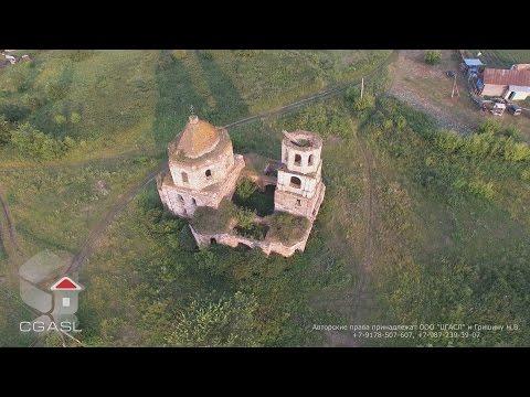 Аэросъемка села Косяково (Зеленодольский район, Троицкая церковь)