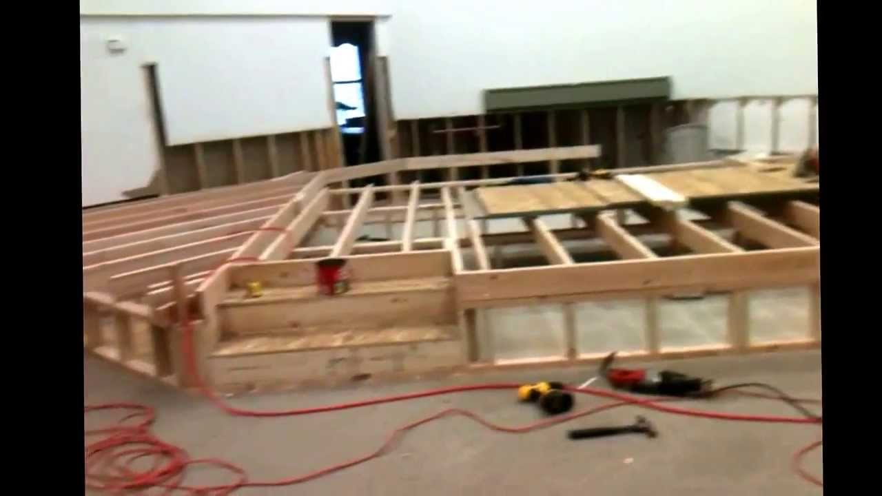 Working in building the church 39 s platform youtube for How to build a wood platform