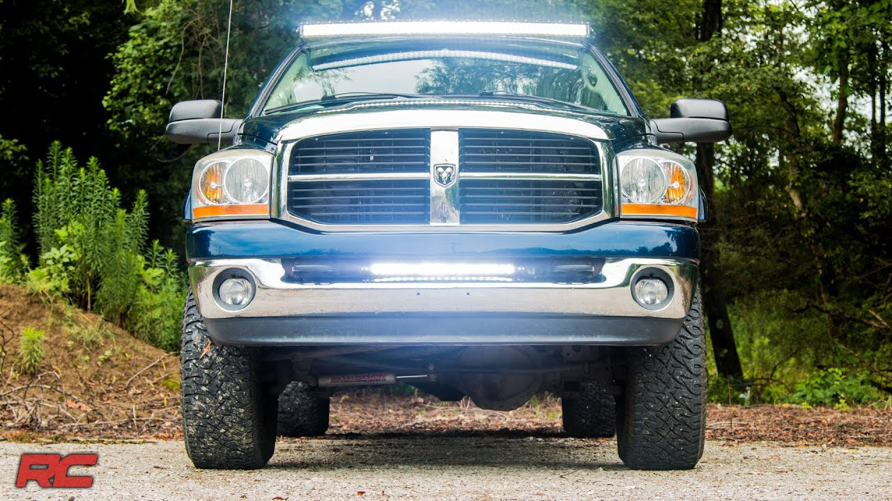 2003 2017 dodge ram 25003500 20 inch led light bar bumper mount by 2003 2017 dodge ram 25003500 20 inch led light bar bumper mount by rough country youtube aloadofball Gallery