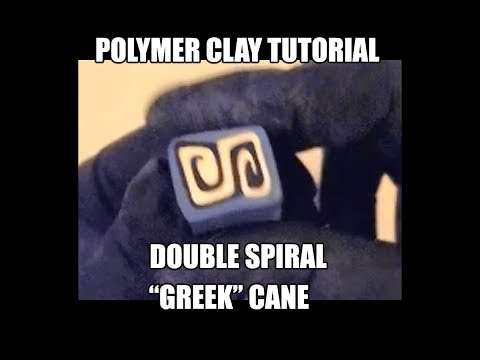 """Polymer clay tutorial - double spiral """"Greek"""" cane"""