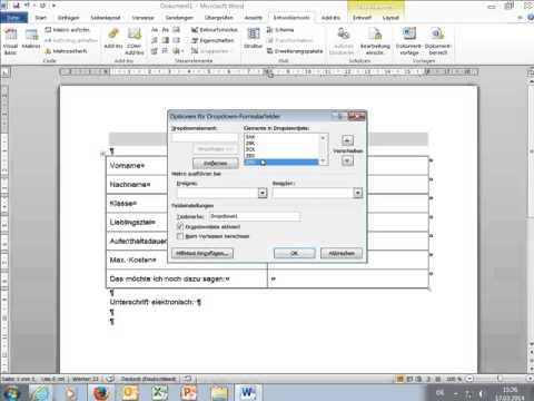 Formular Mit Microsoft Word Erstellen Youtube