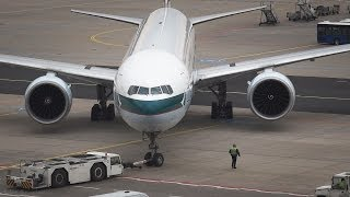 Cathay Pacific Boeing 777-300ER - Pushback/Taxi/Takeoff at Frankfurt