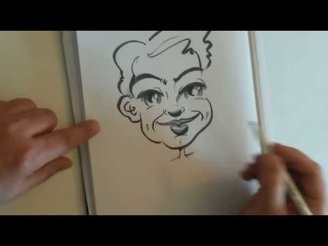 ASMR artist draws a caricature portrait with felt tip, includes extra shading.