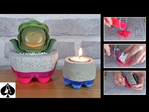 How to Make an Epoxy Resin and Concrete Planter & Tealight Holder from a Soda Pop Bottle Mould