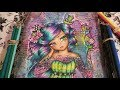 COLOR ALONG IN HANNAH LYNN TATTOO GIRLS COLORING BOOK/MIXED MEDIA BACKGROUND PT.4