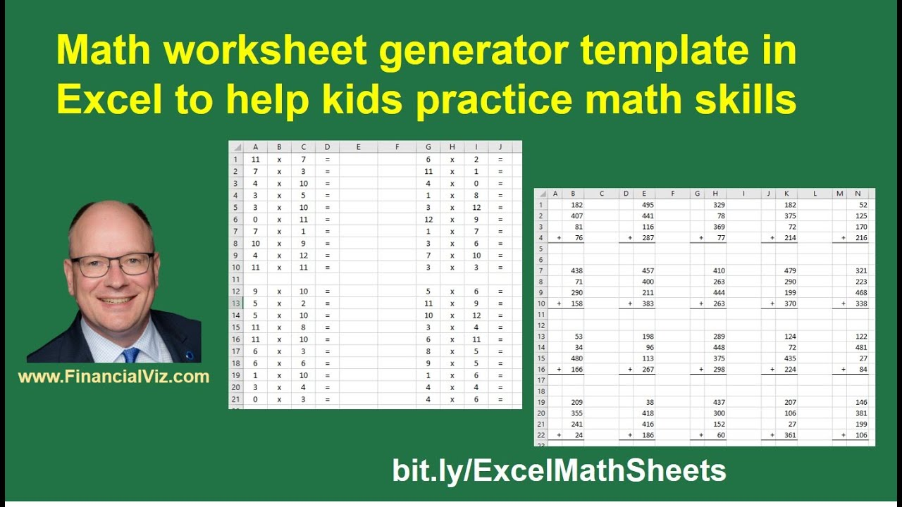 hight resolution of Math worksheet generator template in Excel to help kids practice math  skills - YouTube