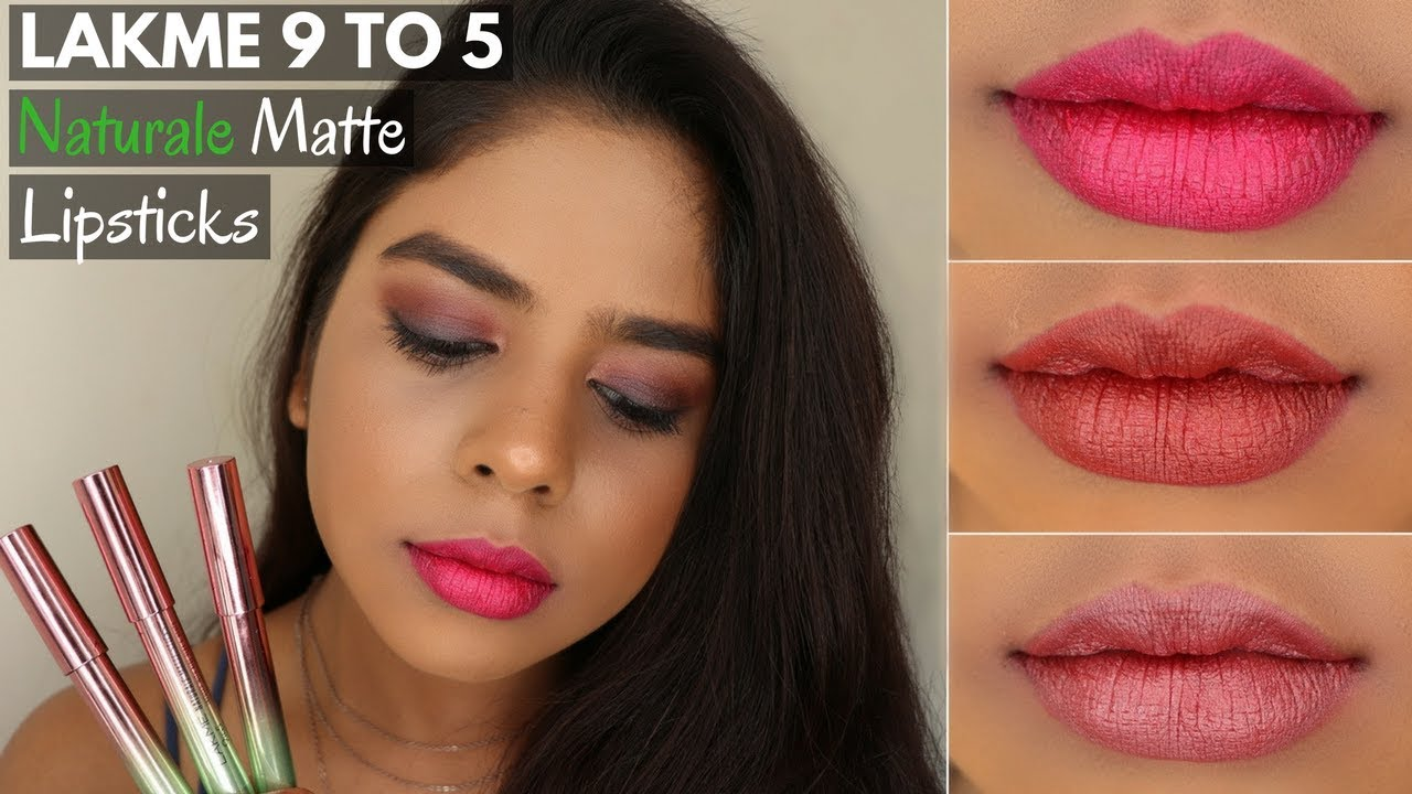 Lakme 9 To 5 Naturale Matte Sticks Lipstick Swatches All Shades Indian Tan Brown Dusky Skin Tone