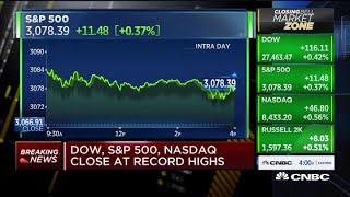 Dow, S&P 500, Nasdaq close at record highs