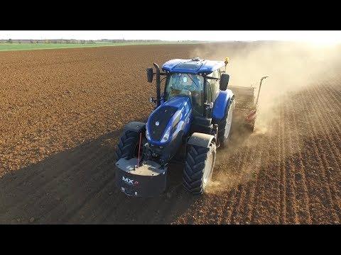 Semis de blé bio 2017/ New Holland T7 190, Amazon 4m [Dji phantom 3 4k]