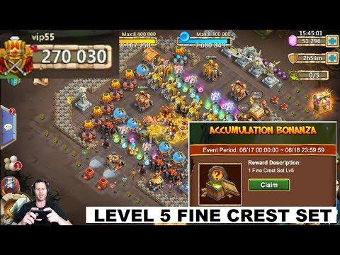 SUPER Lucky LEVEL 5 FINE Crest Set Pack + 50000 For GunSlinger Castle Clash