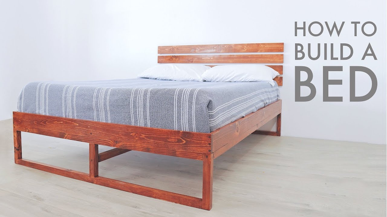 How To Build A Modern Bed W Limited Tools Modern Builds Diy Youtube