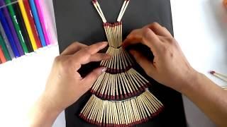 MATCH STICK CRAFT || BEAUTIFUL WALL DECORATION MATCH STICK Dress ||Life Hacks #11.