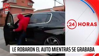 Estaba haciendo un video para sus redes sociales con su auto nuevo y se lo robaron