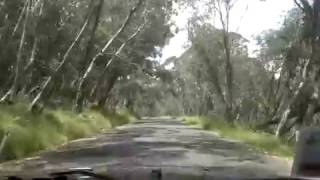 Driving The Alpine Way, Snowy Mountains, NSW, Australia.
