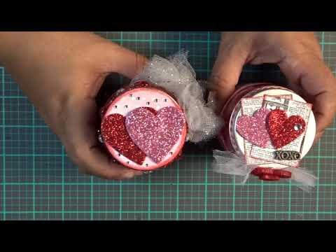 Plastic jars from dollar tree turned into Valentines Day treat jars