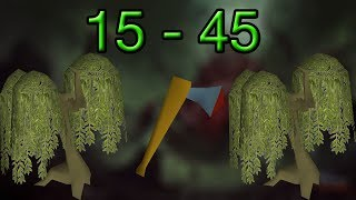 RuneScape | 3 Hours Woodcutting | Level 15-45 | Honestly Not Too Bad