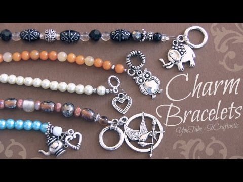 DIY Beaded Charm Bracelet with wire, crimp beads, & clasps ♥ | SoCraftastic