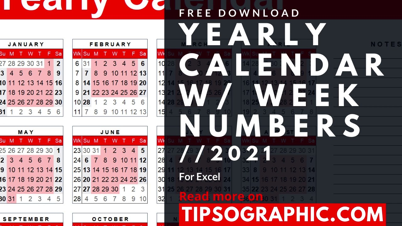 20 Yearly Calendar Template with Week Numbers for Excel ▻ Free ...