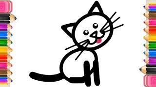 рисование и раскраски для детей 2, 3, 4, 5, 6, 7 лет. Учим цвета и как нарисовать Котенка