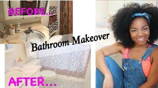 EXTREME DIY Bathroom Makeover//Rental Friendly/Peel & Stick FLOOR, Contact Paper & MORE! $200 BUDGET