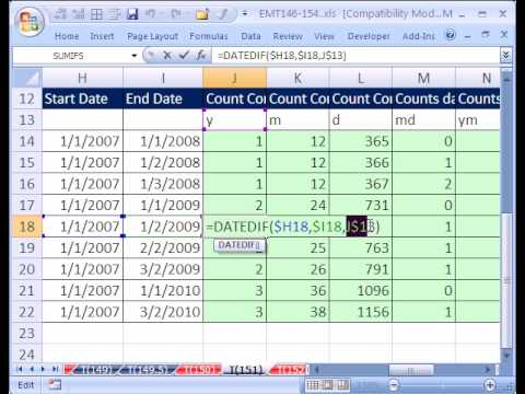 Date duration calculator excel