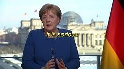 Kanzlerin Merkel Spricht zu BürgernInnen über das Corona Virus (Englische Untertitel)