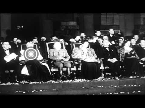 The visit of First Lady of Argentina, Eva Peron, to Spain, where she is hosted by...HD Stock Footage