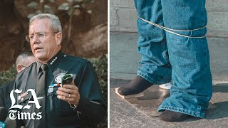 LAPD demonstrated how a Batman-like gadget will fire a Kevlar cord to entangle a suspect's body