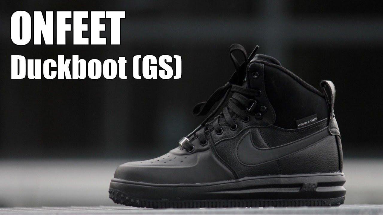 big sale a05ba 67ff6 ONFEET Nike Lunar Force 1 Sneaker Boot (GS) Black Review - YouTube