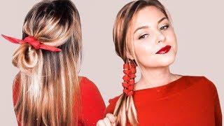 5 Причесок. Самые ПРОСТЫЕ и КРАСИВЫЕ ПРАЗДНИЧНЫЕ прически с платком. TOP 5 Holiday Hairstyles