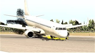 Myanmar Airplane 190 Emergency Landing With No Front Wheel | X-Plane 11