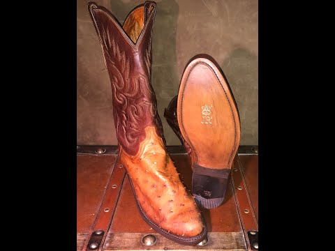 Lucchece Ostrich Boots Restored with JR Resole and Saphir Upper Treatment