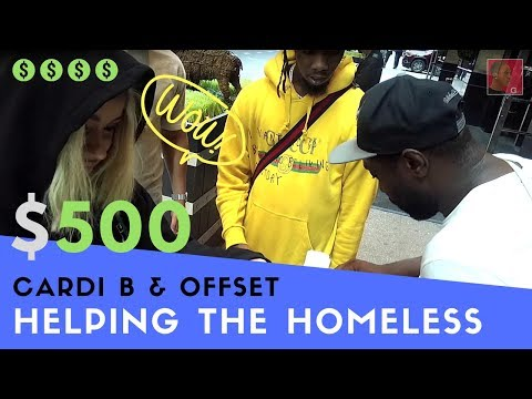 Cardi B & Offset give $500 cash to homeless man for proving he did 20 years in prison