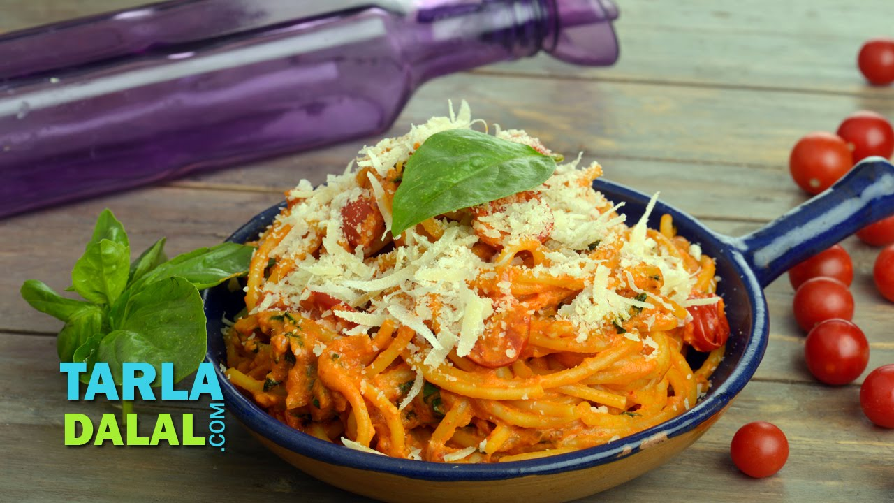 Tomato basil pasta famous and popular italian recipe easy to make tomato basil pasta famous and popular italian recipe easy to make noodles by tarla dalal youtube forumfinder