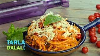 Tomato Basil Pasta Famous and Popular Italian recipe Easy to Make noodles By Tarla Dalal