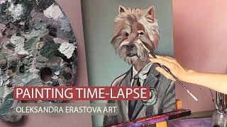How I Painted Portrait Of Lesia Nikituk Dog Rafael / West Highland White Terrier